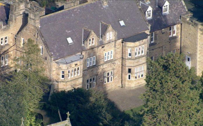 Birds-eye view of an old building